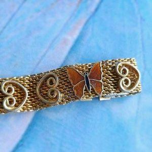 Vintage enamel butterfly mesh bracelet by Paradise